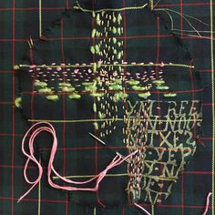 Sample work in progress: #Patching & #Darning ideas for a #Plaid suit I'm working on with baby pink leather elbow pads to match some of the embroidery thread..Working on a #Eccentric #GardenerEsque look.. #Creative #Stylist #PatternCutter #Dandy #Punkature #AntiBrand #MensStyle #MensWear #AllotmentChic #EccentricGardener #Shoreditch #Hoxton #London ..