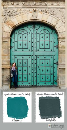 COLORWAYS   Leslie Stocker » Puerta en España. Beautiful entrance in Bilbao, Spain inspires Annie Sloan Chalk Paint® color palette. Florence, Graphite
