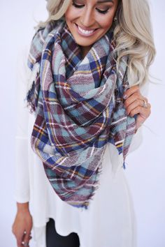 Blanket Scarf- Maroon/Navy - Dottie Couture Boutique | casual wear | Pinterest | Blanket Scarf, Scarfs and Blankets