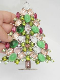 Vintage Czech Crystal Mantle Christmas Tree #244