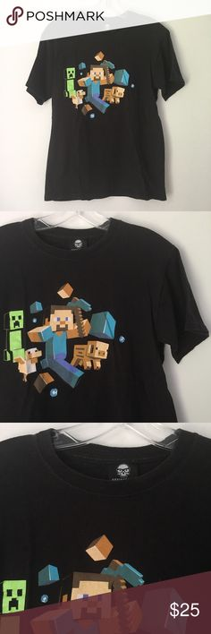 """SOFT DISTRESSED MINECRAFT GRAPHIC TEE SHIRT TOP !! Minecraft Pixel Pixelated Pixels Video Game Games Gamer Gaming Sick AF Short Sleeve Tee Shirt Top    Gently worn & washed only a handful of times.    NO major or damaging flaws. Some minor pilling & slight fading, which happens naturally over time. Graphic has a slightly distressed look to it. Overall clean & excellent! Has that ultra soft & comfortable """"worn-in"""" feel to it. Still TONS of life left!    Size: Women's Small.    Chest - 17""""…"""