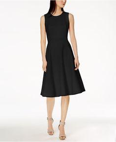 5f6a191e120679 Calvin Klein Scuba Midi Fit   Flare Dress - Tan Beige 16