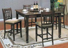 Yuan Tai Furniture - Mirage Pub Table w/ Lazy Susan 18' Leaf with Counterheight chair