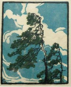 Arie Zonneveld (1905-1941) - Sea Pines. Woodblock Print.
