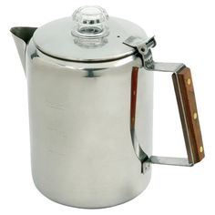 Nine-cup stainless steel percolator with heat-resistant wood handle.   Product: PercolatorConstruction Material: ...