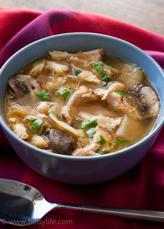 Chicken and Parsnip Soup with Mushrooms and Chickpeas. Healthy, light and super simple to prepare.