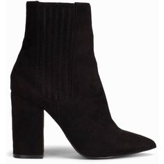 Nly Shoes Block Heel Ankel Boot ($60) ❤ liked on Polyvore featuring shoes, boots, ankle booties, high heel bootie, pointy toe booties, pointed toe boots, faux suede boots and high heel ankle boots