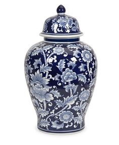New Traditional Home Decor - Blue and White Floral Pattern Ginger Jar