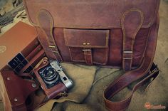 "Leather Messenger Bag 14"" / Air Plane Cabin Bag / Briefcase / Handbag / Satchel / Shoulder Bag / iPad / Hip Bag"