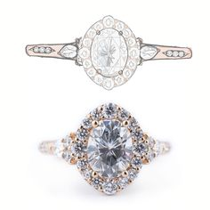 This design showcases an oval cut halo moissanite engagement ring from sketch to completion. This engagement ring was custom designed by Abby Sparks Jewelry and it is one of a kind. Dream Engagement Rings, Alternative Engagement Rings, Perfect Engagement Ring, Designer Engagement Rings, Halo Diamond, Diamond Cuts, Brilliant Diamond, Moissanite, Unique Rings