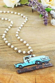 Wear this necklace for inspiration throughout the day! Southern Grace 'Jesus Take the Wheel' Truck Pendant Pearl Necklace #jesustakethewheel #southerngrace #ewamboutique