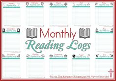 Free Monthly reading Logs. The perfect way to organize what you've read in your homeschool!