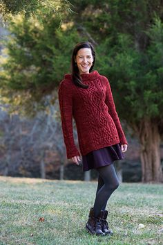 Marnie is a fun to knit pullover with cables and textured stitches to keep it interesting. It's A-line shape in the body and loose, long sleeves make for a comfortable fit. Marnie is a Hebrew name that means rejoice. You will be rejoicing when you pull on this comfy, cozy pullover on chilly days!