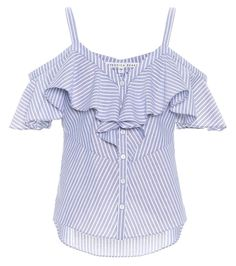 VERONICA BEARD - Grant off-the-shoulder cotton top - Veronica Beard takes the classic blue and white striped shirt style and lends it a feminine spin with this off-the-shoulder top. Crafted from cotton, this button-down design comes with two slim shoulder straps and romantic ruffled trim. We like how ours looks with skinny jeans and white sandals for casual date nights. - @ www.mytheresa.com