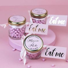 Personalised Wedding Favour Sweet Jars With Pink Candy by Hearth & Heritage, the perfect gift for Explore more unique gifts in our curated marketplace. Wedding Favour Sweet Jars, Summer Wedding Favors, Wedding Favours Luxury, Honey Wedding Favors, Creative Wedding Favors, Inexpensive Wedding Favors, Elegant Wedding Favors, Edible Wedding Favors, Wedding Favors For Guests