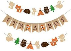 Woodland Themed Baby Shower Party Supplies and Decorations For Boys 1 It s A Boy Rustic Burlap Banner 2 Fox Deer Forest Animal Garland Country Shower Nursery Favors and Decor Natural Baby Boy Room Decor Gateway Baby Shower Party Supplies, Boy Baby Shower Themes, Baby Shower Parties, Baby Shower Decorations, Baby Showers, Baby Boy Room Decor, Boy Decor, Baby Room, Baby Shower Garland