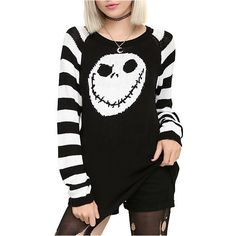 The Nightmare Before Christmas Jack Head Knit Sweater | Hot Topic ($45) ❤ liked on Polyvore featuring tops, sweaters, shirts, shirts/tops, christmas shirts, christmas sweater, black white shirt, black shirt and black christmas sweater