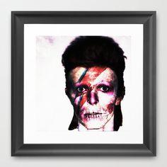 ziggy stardust skull portrait 2 Framed Art Print by Joedunnz - $33.00