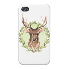 Noble deer and green wreath case for iPhone 4 Custom Brandable Electronics Gifts for your buniness #electronics #logo #brand
