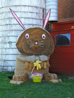 This farmer makes huge hay bale decorations for every holiday!!