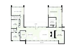 U Shaped House Plans With Courtyard Pool Central One Story ...