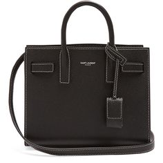 Saint Laurent Sac De Jour nano grained-leather tote (4060 TND) ❤ liked on Polyvore featuring bags, handbags, tote bags, black, full grain leather purse, mini tote bags, mini purse, yves saint laurent handbags and handbags tote bags