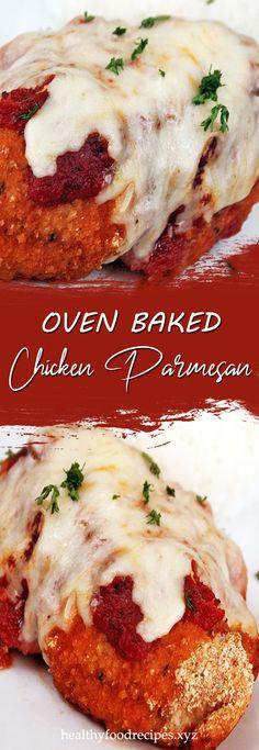 Recipe for Oven Baked Chicken Parmesan Easy Oven Baked Chicken Parm Recipe, Baked Garlic Parmesan Chicken, Baked Chicken Legs, Yummy Chicken Recipes, Chicken Thighs, Turkey Recipes, Allrecipes, Lemon, Chicken Quarters