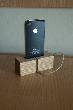 Simple Wood iPhone Dock by nathanielbklark on Etsy, $23.00