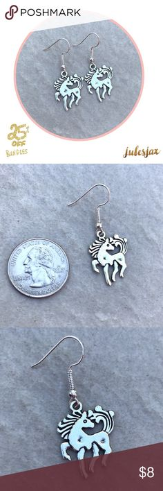 SILVER HORSE EARRINGS Gorgeous silver NWT boutique earrings with fish hook closure.  Comes with earring backs (not shown in photo).                                                    Shop with confidence.                                  Suggested User                                           Next day shipping                                         5star rated / Top Seller .      #rider, horses, equestrian, saddle, stallion, derby Jewelry Earrings