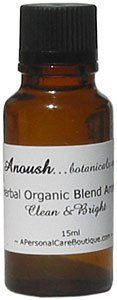 Anoush botanicals and organics Herbal Organic Blend Aroma by Anoush botanicals and organics. $28.00. Product DescriptionClean and bright: spring flower buds, lavender and herbs These carefully mixed botanical and organic essential oils are extraordinarily pure, of superior quality and certainly no animal testing. Enjoy a few drops in a bath, to offer to your manicurist or massage therapist instead of basic oils and even as a refresher to your potpourri located wherever you linger...
