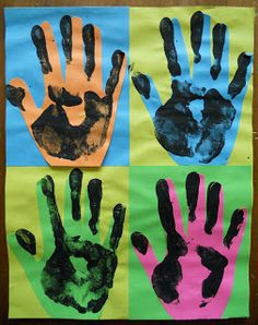 "Create Art With Me!: May 2012--a quick printmaking project with a nod to andy warhol ""handy andys"" with book tie-in"