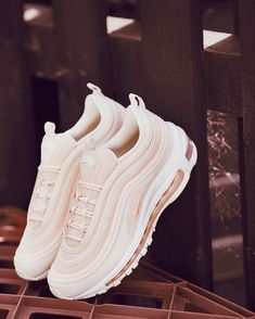Our most stylish shoe of the month award goes to this new Nike Air Max 97 OG sho. - - Our most stylish shoe of the month award goes to this new Nike Air Max 97 OG shoe in pink and white. It ranks as our favourite Nike Air Max 97 OG shoe. White Nike Shoes, Nike Air Shoes, White Nikes, Pink Shoes, Cool Nike Shoes, Baby Shoes, New Shoes, Trendy Shoes, Casual Shoes