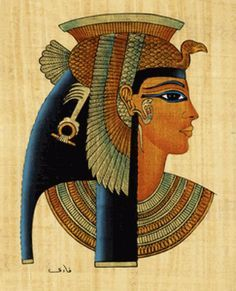 Papyrus painting of Cleopatra. Cleopatra (Late 69 BC – August 30 BC) was the last active pharaoh of Ancient Egypt, only shortly survived by her son, Caesarion as pharaoh. Ancient Egypt Pharaohs, Ancient Egypt Art, Ancient Civilizations, Ancient History, Egyptians, European History, Ancient Aliens, Ancient Artifacts, Ancient Greece