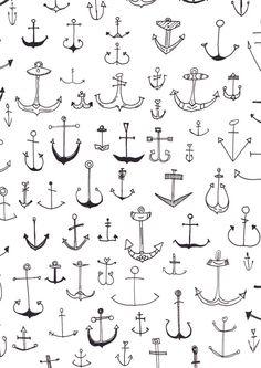 Anchor Ilustration Nautical Print by LottiandMe on Etsy, €9.90