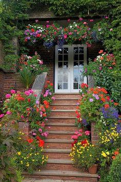 Entrance container flower garden
