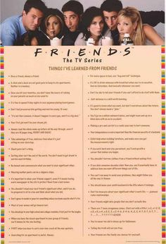Friends Things I Learned TV Show Poster 24x36 – BananaRoad