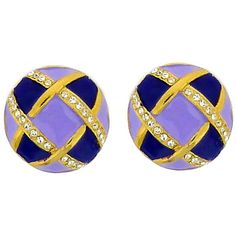 Lilac & Purple Enamel Gold Plated & Crystal Button Clip On Earrings Lilac, Purple, Large Buttons, Swarovski Crystal Earrings, Clip On Earrings, Enamel, Jewels, Gold, Vitreous Enamel