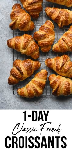 This quick version of my Classic French Croissants recipe includes a few short cuts, takes only 7 hours to make (with extended inactive period of times) and still gives billowy, flaky, buttery croissants. Food Recipes For Dinner, Food Recipes Keto Pastry Recipes, Gourmet Recipes, Dinner Recipes, Cooking Recipes, Healthy Recipes, Cooking Blogs, French Food Recipes, Croissant Pizza, French Croissant