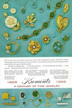 1960s ad for different pieces of Krementz jewelry. #vintage #jewelry #1960s #accessories