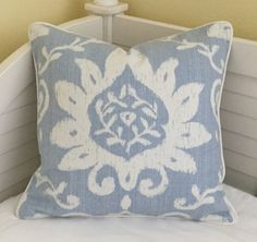 Thibaut Bridgewater in Blue Designer Pillow Cover with Piping - Square and Euro Sizes by SewSusieDesigns on Etsy