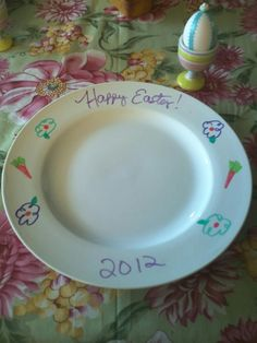 A white plate can be transformed to go with any occasion using Dry-Erase markers! This was a last minute thought, so my artwork was a bit messy...but you get the idea ;) I was going to paint them or put Easter stickers on, but I ran out of time...I ended up liking this even better!
