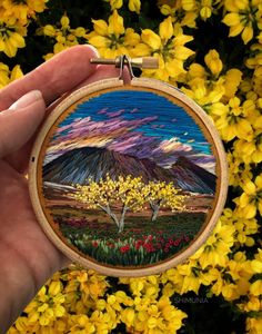 Embroidery Stitches Design Billowing Clouds and Rainbow-Hued Sunsets Created With Textured Embroidery Thread by Vera Shimunia