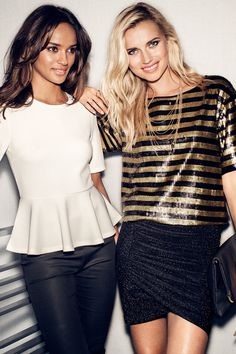 Keep it simple with a white peplum top, or go all out in black & gold sequin stripes.   Party in H&M