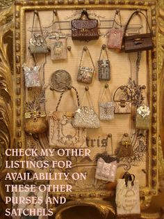 this is a miniature dollhouse 1/12 scale collection of beaded tapestry handbags,alligator bags, satchels etc.