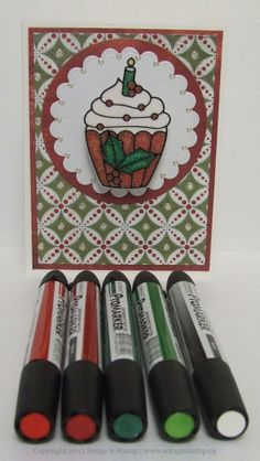 Cards made with Elizabeth Craft Designs Peel Off Sticker 2527 Christmas Cupcakes, Elizabeth Craft Designs Glitter Dots 7018tg, Stampendous Crystal Frantage Microfine Glitter & Letraset ProMarkers