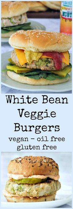 For the ultimate in comfort food, try these gluten-free White Bean Veggie Burgers Veggie Recipes, Appetizer Recipes, Whole Food Recipes, Vegetarian Recipes, Cooking Recipes, Healthy Recipes, Hotdish Recipes, Hamburger Recipes, Vegan Recipes