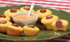 Homemade corndog muffin poppers served with a secret