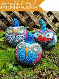 My Owl Barn: Tutorial: Painted Owl Pumpkins