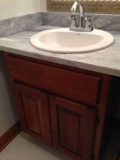 Smokey White quartzite, bathroom countertop.
