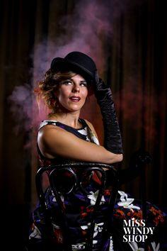 Smokin' hot (c) misswindyshop.com #theatre #cabaret #dress #vintage #black #1920s #1950s #gloves #bowlerhat #photography